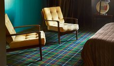 Abbotsford plaid carpet from Brintons. I like this, don't know whether one would get fed up of it though? Green Room Colors, Green Rooms, Tartan Carpet, Red Carpet, Carpet Remnants, Green Interior Design, Patterned Carpet, New Homes, Home