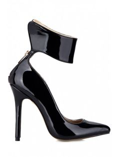 Stiletto Heel Black Patent Leather Pumps - Black 37 #Shoproads #onlineshopping #Formal Shoes