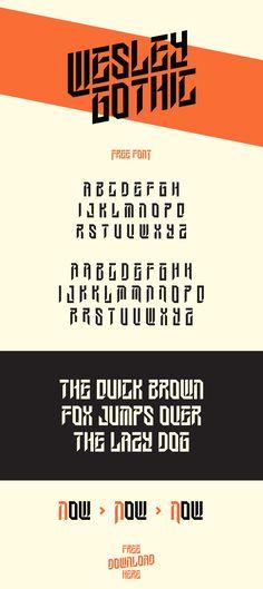 Vedi questo progetto @Behance: \u201cWesley Gothic | Free Font\u201d https://www.behance.net/gallery/53499505/Wesley-Gothic-Free-Font