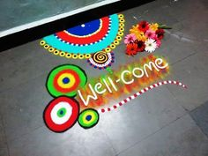 how to make wel come rangoli design - YouTube
