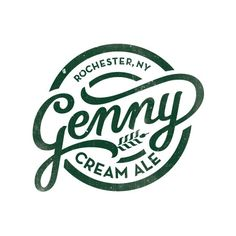Genny Cream Ale Logo, Hand lettered, wheat, Cursive, Font, Type, Typography