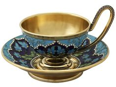 Russian Silver Gilt and Polychrome Cloisonné Enamel Cup and Saucer - Vintage Circa 1970 SKU: A4330 Price: GBP £1,095.00 http://www.acsilver.co.uk/shop/pc/Russian-Silver-Gilt-and-Polychrome-Cloisonn-Enamel-Cup-and-Saucer-Vintage-Circa-1970-66p8082.htm