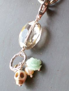 Sugar Skull Charmed Pendant Keychain by VivaGailBeads on Etsy, $16.00