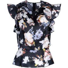 Erdem Blouse ($360) ❤ liked on Polyvore featuring tops, blouses, shirts, black, black zipper shirt, black blouse, zipper shirt, black floral shirt and black short sleeve blouse