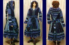 SIZE  L- XXXL,  elf sWEATER, elf COAT, dRESS, women hoodie, costium, gypsy, patchwork coat, recycled sweater, upcycled jacket. $329.00, via Etsy.