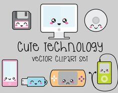 Prämie Vector Clipart   Kawaii Technologie Clipart   Technologie ClipArt Set    Hohe Qualität