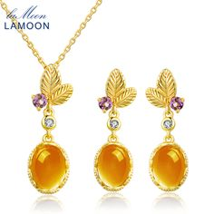 ==> [Free Shipping] Buy Best LAMOON Romantic Flower 100% Natural Citrine 925 Sterling Silver Necklace Earrings Fine Jewelry 14K Yellow Gold Plated Set Online with LOWEST Price | 32818021119
