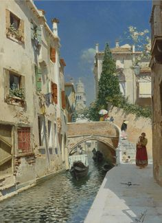 rubens-santoro-italian-1859-1942-venetian-canal-with-the-campanile-of-the-frari-in-the-distance.jpg (1453×2000)
