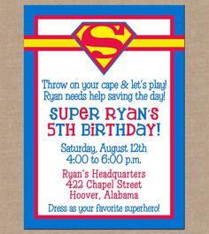 12 Boy Super Hero Superman Invitations with by ohsuzyqdesigns, $12.95