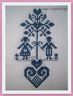 Heart tree with hand holding couple St Valentine if done in red cute wedding addition in the wedding colours cross stitch