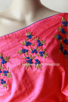 Handmade Embroidery Designs, Saree Embroidery Design, French Knot Embroidery, Hand Embroidery Dress, Border Embroidery Designs, Embroidery Stitches Tutorial, Bead Embroidery Patterns, Embroidery On Clothes, Hand Work Blouse Design