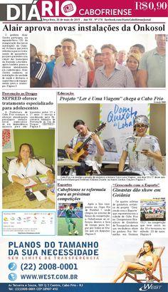 Folheie aqui a edição do DIÁRIO CABOFRIENSE de terça-feira, 26 de maio <3  Telma Flora | editora chefe <3