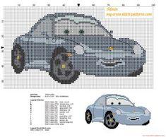 Sally Carrera Disney Cars quatre roues grille point de croix