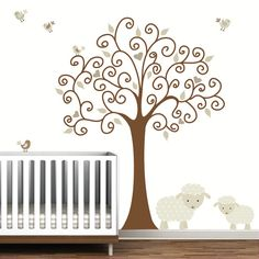 Tree Wall Decalwith Lamb SheepBaby Nursery by Modernwalls on Etsy