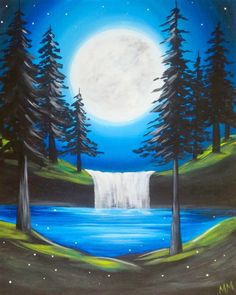 Moon and forest waterfall, beginner canvas painting. Wine and Canvas - Flower - Pond Painting, Easy Canvas Painting, Simple Acrylic Paintings, Easy Paintings, Acrylic Art, Landscape Paintings, Canvas Art, Waterfall Paintings, Wine And Canvas