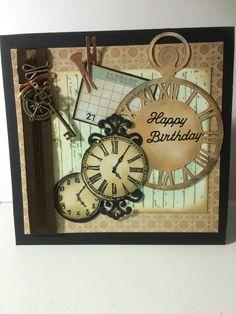 Male birthday card Kaisercraft clock die Kaisercraft empire collection stamp