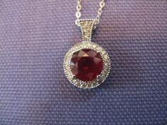 Ruby and Diamond Necklace. $135.00, via Etsy.
