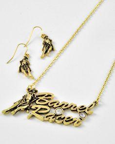 Antique Gold Tone Metal / Clear Rhinestone / Lead Compliant / Texas Theme / Barrel Racer Pendant / Necklace & Fish Hook Earring Set