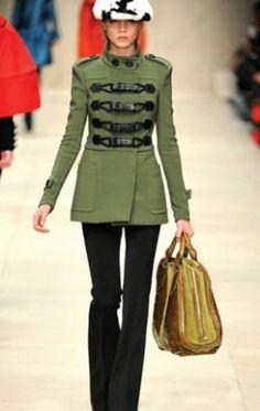 Army Green Long Sleeve Buckle Strap Epaulet Coat :)