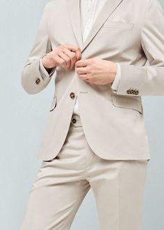 Americana traje slim-fit popelín | MANGO MAN