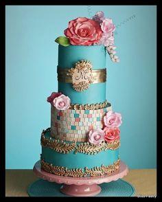 Pink, Blue & Coral Wedding cake