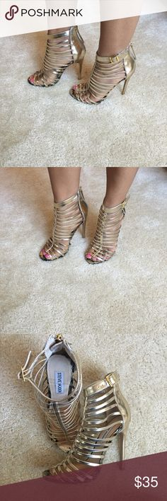 Steve Madden Gold High Heel Sandals Steve Madden Marnee- Gold High-Heel Sandals Steve Madden Shoes Sandals