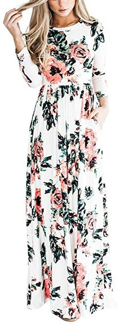 f0ec7c628002 YUMDO Women's Floral Print Long Sleeve Dress Crew Neck Dresses White M at  Amazon Women's Clothing
