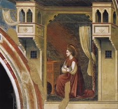 Giotto di Bondone (Italian, (ca.1266-1336) ~ Annunciation,The Virgin Receiving the Message ~ ~ 1306 ~ Cappella Scrovegni, Padua