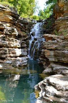 Waterfall located at Top of the Rock in Ridgedale, Missouri. Near Table Rock Lake in Branson, Missouri. Ozarks, September 2016.