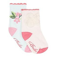 Baker by Ted Baker - Pack of two babies light pink and light blue flower socks