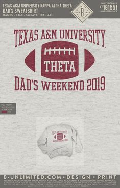 Kappa Alpha Theta Event Shirt | Sorority Event | Greek Event #kappaalphatheta #theta #kao #kat #gameday Kappa Alpha Theta, Dad Day, Greek Clothing, Sorority, Print Design, Dads, Shirts, Greek Outfits