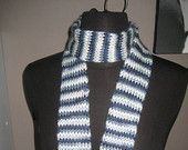 Blue & white, knit tube scarf