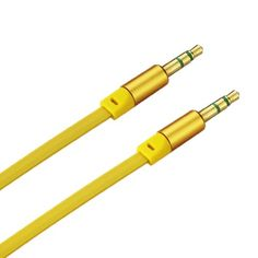 Reiko Stereo Male/Male Audio Cable 3.5Mm Gold-Plated Connector Yellow