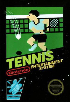 """Tennis is a video game released for the Nintendo Entertainment System in The concept of the game is very basic in that the player controls one person faced against an opponent CPU player. This game uses the same scoring system as """"real-life&quo Classic Video Games, Retro Video Games, Video Game Art, Retro Games, Nes Games, Games Box, Arcade Games, Nintendo Games, Nintendo 2ds"""