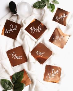 Gorgeous Copper Place Cards | Copper Escort Cards | Handlettered Calligraphy Names | Modern Wedding Inspiration | Copper Decor Ideas | Square Copper Name Cards