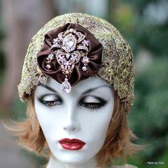 1920's Flapper Hat Bridal Skull Cap Headpiece Wedding by GailsHats