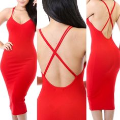 Cheap Sexy U Neck Spaghetti Strap Sleeveless Backless Crossed Red Polyester Sheath Knee Length Dress_Dresses_Womens Clothing_LovelyWholesale | Wholesale Shoes,Wholesale Clothing, Cheap Clothes,Cheap Shoes Online. - LovelyWholesale.com