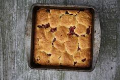 Cornmeal cake. I'm thinking blackberries would be delicious here too.