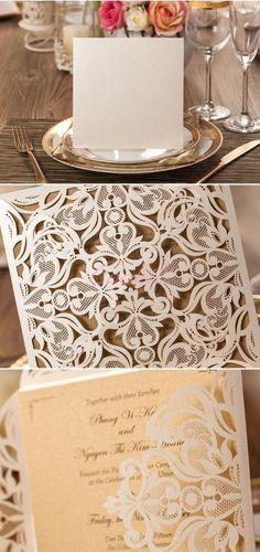 Ihr sucht eine ganz besondere Einladungskarte für eure Hochzeit. Sie sollte nicht allzu viel kosten und richtig elegant aussehen?  Dann habt ihr sie jetzt gefunden!  Lasergeschnittene Karten...