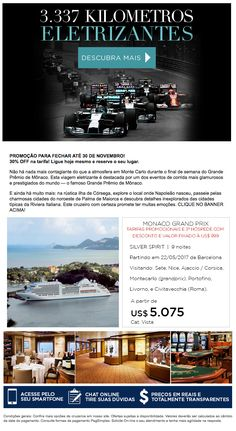 Silversea e GP de Monaco. Assista a corrida e fique no navio.