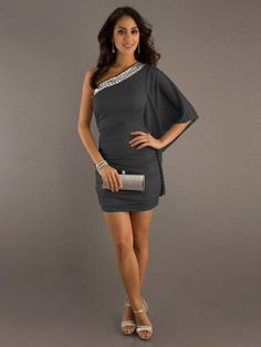 One Shoulder Neckline A-line Mini Length Grey Chiffon Short Maxi Dresses With Sleeves