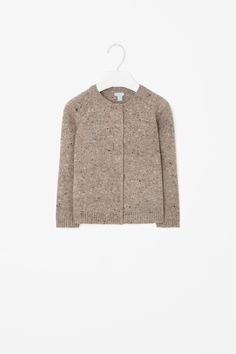 This button-up cardigan is made from warm wool with a multi-coloured speckled finish.