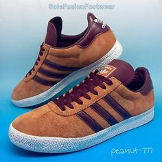 adidas-Originals-Mens-Gazelle-Trainers-Tan-Maroon-size-8-Suede-Leather-42-US-8-5