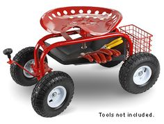 Steerable Rolling Seat with Tool Tray $95.00 How cool would this be?  Love the tractor seat.  Looks sturdy.