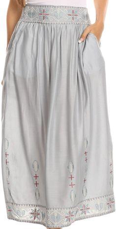Sakkas Poch Long Tribal Aztec Floral Flower Embroidered Adjustable Waist Skirt