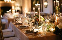 Wedding reception decor idea: long tables with candles