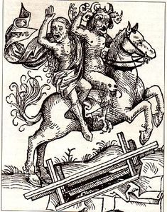 The devil carries off a witch, on horseback.  Medieval woodcut.