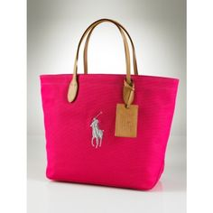 Ralph Lauren Pony Canvas Leather Handbag Rose take it home now, it is worth to