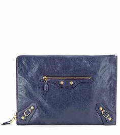 Classic Pouch leather clutch   Balenciaga