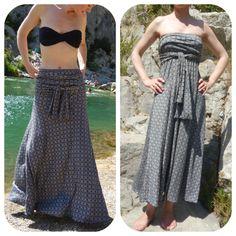 Tuto gratuit robe bustier transformable en jupe longue, excellent!